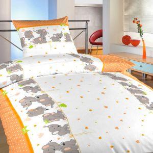 Povlečení bavlna Sloni oranžoví | 140x200, 70x90 cm, 40x40 cm povlak, 40x50 cm povlak