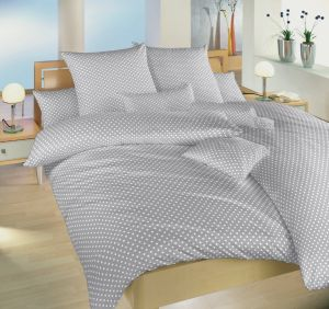 Krepové povlečení s oblíbeným motivem Puntík bílý na šedém, | 140x200, 70x90 cm