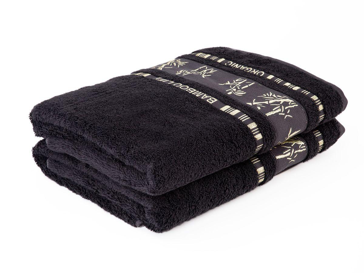 Bambusové ručníky a osušky Bamboo ručník černý, rozměr 50x90 cm.