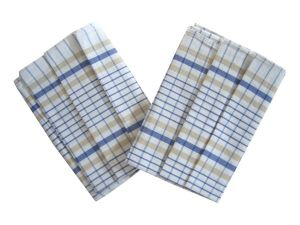 Utěrky z egyptské bavlny Kostka bílo/modrá - 3 ks