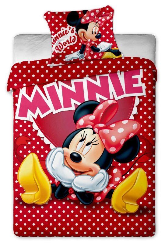 Bavlněné povlečení Disney - Minnie hearts 1x 140/200, 1x 90/70