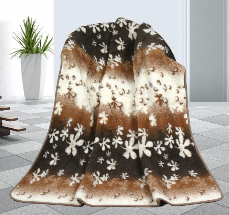 Vlněná deka 155 x 200 cm květy - evropské merino