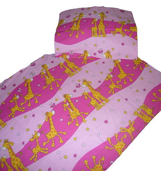 Bavlněné ložní povlečení do postýlky - Žirafa růžová