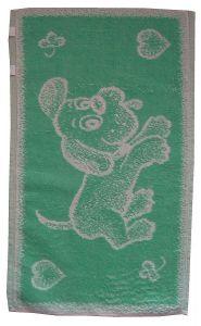 Dětský froté ručník - Pejsek světle zelený,