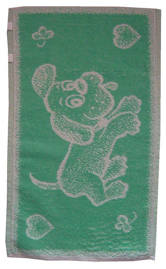 Dětský froté ručník Pejsek světle zelený