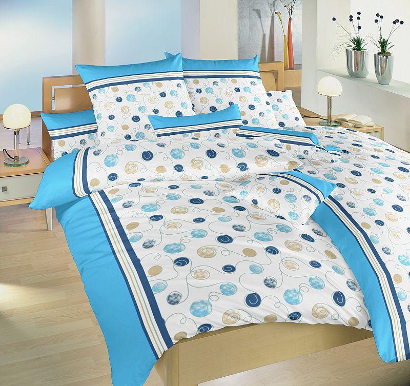 Kvalitní bavlněné povlečení modro bílé barvy Pluto modré, Dadka