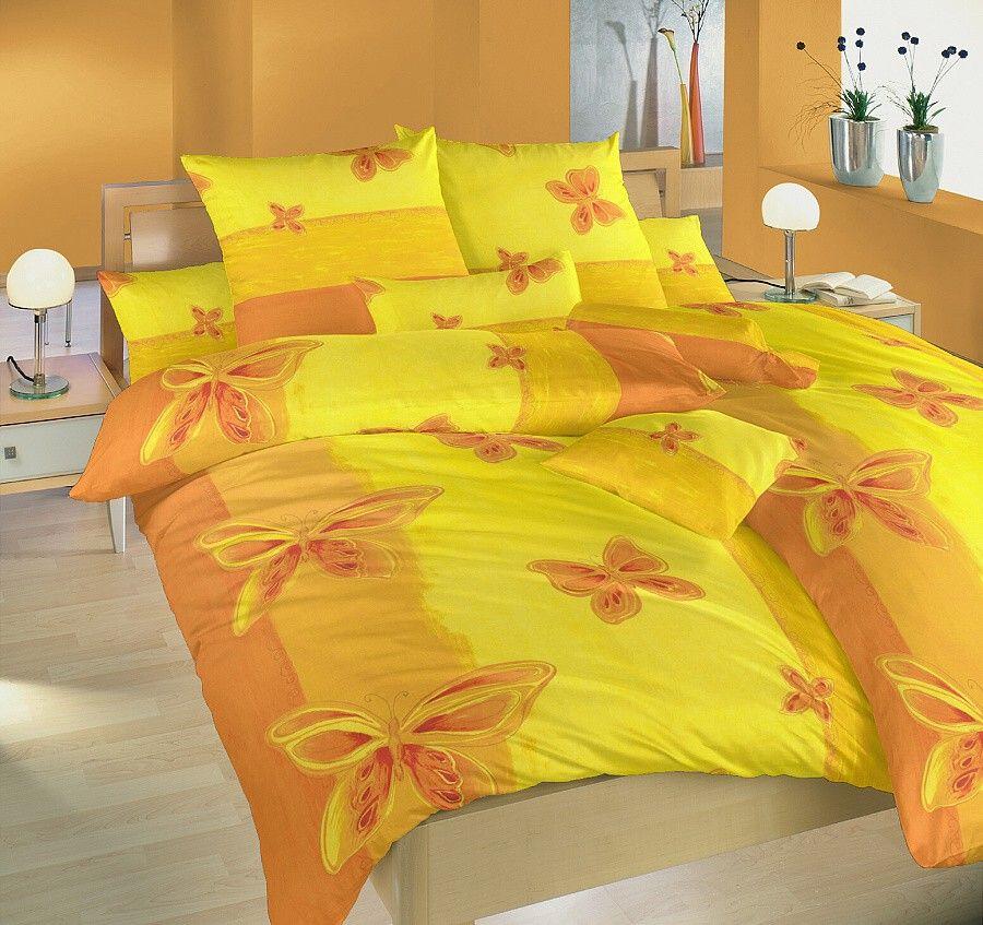 Flanelové ložní povlečení Motýl žlutý