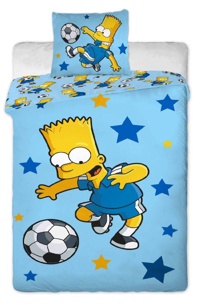 Bavlněné povlečení Simpsons Bart blue 1x 140/200, 1x 90/70