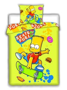 Bavlněné povlečení Simpsons - Bart Skate yellow