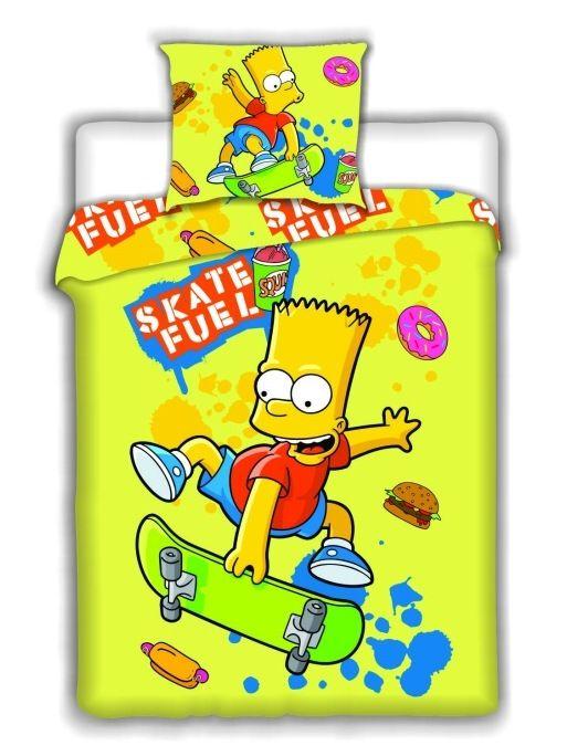 Bavlněné povlečení Simpsons - Bart Skate yellow 1x 140/200, 1x 90/70