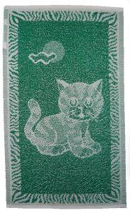 Dětský froté ručník - Kotě tmavě zelené