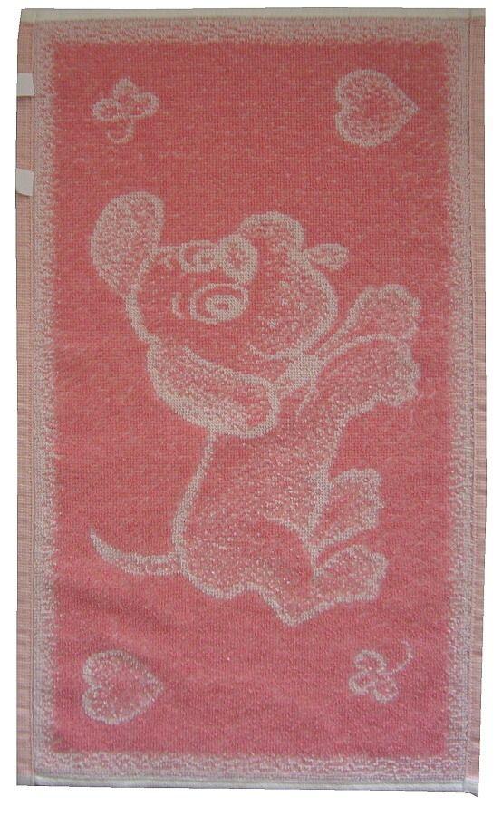 Dětský froté ručník - Pejsek růžový, rozměr 30x50 cm.