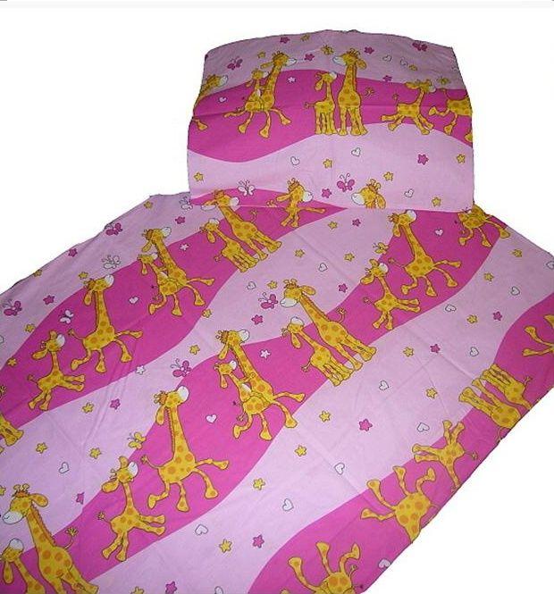 Bavlněné ložní povlečení Žirafa růžová