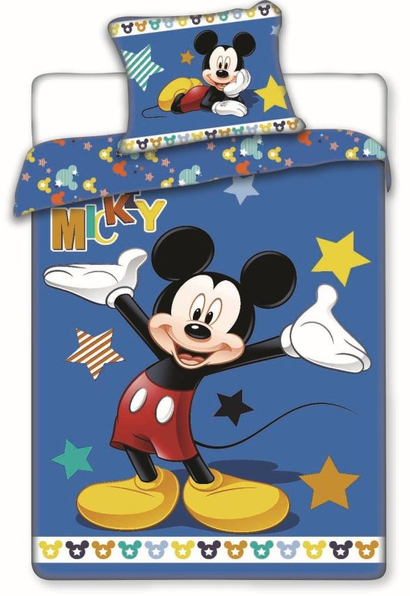 Bavlněné povlečení Mickey star 1x 140/200, 1x 90/70