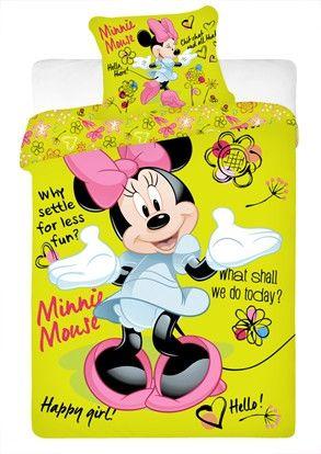 Dětské bavlněné ložní povlečení Minnie green